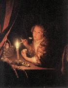 SCHALCKEN, Godfried Girl Eating an Apple sg oil painting artist