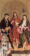 STRIGEL, Hans II Sts Florian, John the Baptist and Sebastian wr oil painting artist