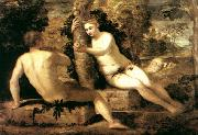 TINTORETTO, Jacopo Adam and Eve ar oil painting artist