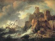 BACKHUYSEN, Ludolf Shipwreck by the Coastal Cliffs oil