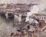 Camille Pissarro Pont Boieldieu in Rouen,damp weather oil painting picture wholesale