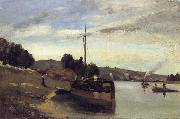 Camille Pissarro Barge on the Seine Peniche sur la Seine oil painting picture wholesale