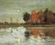 Isaac Ilich Levitan Twilight Moon-study oil painting picture wholesale