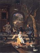 Jan Steen The Poultry yard,Probably a Portrait of Sernardina Margriet van Raesfelt Before Lokborst Caslt near Warmond oil painting picture wholesale