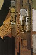 Juan Gris Cup newspaper and winebottle oil painting picture wholesale