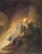 REMBRANDT Harmenszoon van Rijn The Prophet Jeremiab Mourning over the Destruction of Jerusalem oil painting picture wholesale
