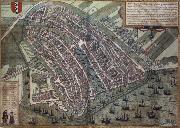 REMBRANDT Harmenszoon van Rijn Map of Amsterdam from Civitates Orbis Terrarum by Georg Brau and Frans Hogenburg oil painting picture wholesale