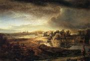 REMBRANDT Harmenszoon van Rijn Landscape with a Coach oil painting picture wholesale
