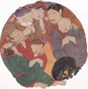 unknow artist The Seven Sleepers in the cave of Ephesus with their dog oil painting picture wholesale