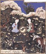 unknow artist Elijah and khizr as mirror images,near the fount of life where their twin fish have resuscitated oil painting picture wholesale