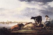 Aelbert Cuyp Cows and Herdsman by a River oil painting picture wholesale