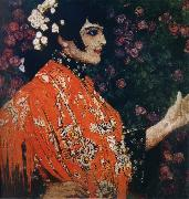 Alexander Yakovlevich GOLOVIN The Woman of spanish had on a shawl red oil painting