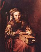 Carel Van der Pluym Old woman with a book oil painting artist