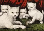 Currier and Ives Three little white kitties oil painting picture wholesale