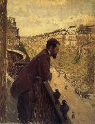Gustave Caillebotte The man stand on the terrace oil painting picture wholesale