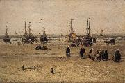 Hendrik Willem Mesdag Flat-bottomed Fishing Pinks and Fisherfolk at Scheveningen oil painting picture wholesale