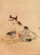 Hiroshige, Ando Cat Bathing oil painting picture wholesale