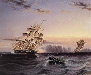 James Edward Buttersworth A U.S Frigate attacking a French Privateer oil painting picture wholesale
