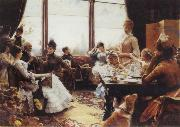 Julius L.Stewart Five O-Clock Tea oil painting picture wholesale