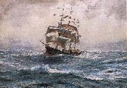 Thomas Somerscales A Ship running before a Gale oil painting artist