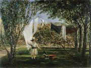 Charles Robert Leslie Child in a Garden with His Little Horse and Cart oil painting