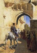 Edwin Lord Weeks A Street SDcene in North West India,Probably Udaipur oil painting picture wholesale