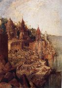 George Landseer The Burning Ghat Benares,as Seen From the City oil painting picture wholesale