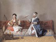 Jean-Etienne Liotard Portrait of M.Levett and of Mlle Glavany Seated on a Sofa oil painting picture wholesale