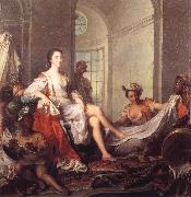 Jjean-Marc nattier Mademoiselle de Clermont at her Bath,Attended by Slaves oil painting