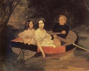 Karl Briullov Portrait of the artistand Baroness yekaterina meller-Zakomelskaya with her daughter in a boat oil painting picture wholesale