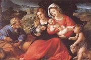 Palma Vecchio The Holy Family with Mary Magdalene and the Infant Saint John oil painting picture wholesale