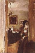 Adolph von Menzel Livingroom with Menzel-s sister oil painting picture wholesale