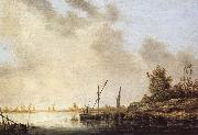 Aelbert Cuyp A River Scene with Distant Windmills oil painting picture wholesale