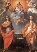 Annibale Carracci The Virgin appears before San Lucas and Holy Catalina oil