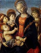 BOTTICELLI, Sandro The Virgin and Child with Two Angels and the Young St John the Baptist oil painting picture wholesale