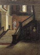 Bernard Hall Staircase to Public Library oil painting artist