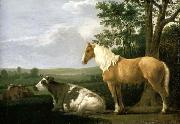CALRAET, Abraham van A Horse and Cows in a Landscape oil