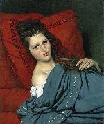 COURTOIS, Jacques Half-length Woman Lying on a Couch oil painting reproduction