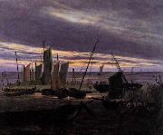 Caspar David Friedrich Boats in the Harbour at Evening oil painting picture wholesale