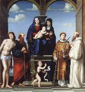 Francesco Francia The Virgin and Child and Saint Anne Enthroned with Saints Sebstian,Paul,John,Lawrence and Benedict oil painting picture wholesale