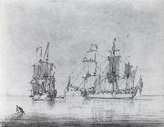 Francis Swaine A drawing of a small British Sixth-rate warship in two positions oil painting picture wholesale
