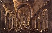 GUARDI, Francesco Doge Alvise IV Mocenigo Appears to the People in St Mark's Basilica in 1763 oil painting artist