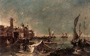 GUARDI, Francesco Landscape with a Fisherman-s Tent oil painting artist