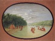 George Catlin Primitive Sailing by the Winnebago indians oil painting picture wholesale