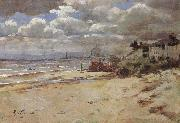 Girolamo Nerli Coast scene with pier oil painting picture wholesale