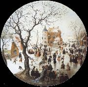 Hendrick Avercamp A Winter Scene with Skaters near a Castle oil painting picture wholesale