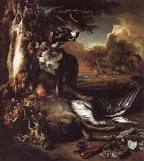 Jan Weenix A Deerhound with Dead Game and Implements of the Chase oil painting artist