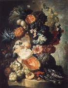 Jan van Os Fruit,Flwers and a Fish oil painting