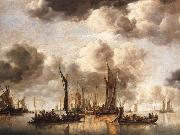 Jan van de Cappelle A Dutch Yacht Firing a Salute as a Barge Pulls Away and Many Small vessels at Anchor oil painting picture wholesale
