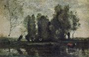 Jean Baptiste Camille  Corot Trees amidst the Marsh oil painting picture wholesale